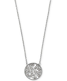 Giani Bernini Cubic Zirconia Vine Pendant Necklace in Sterling Silver, Created for Macy's