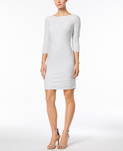 Calvin Klein Petite Glitter-Striped Sheath Dress