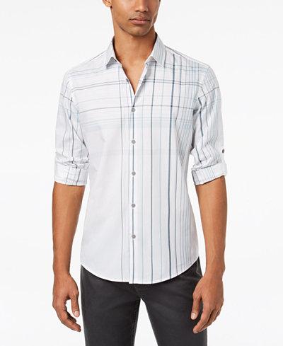 Alfani Men's Baldwin Linear Check-Print Shirt, Created for Macy's