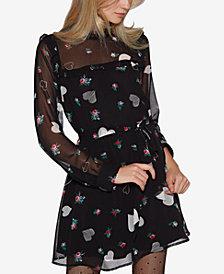 Avec Les Filles Printed Ruffled Fit & Flare Dress