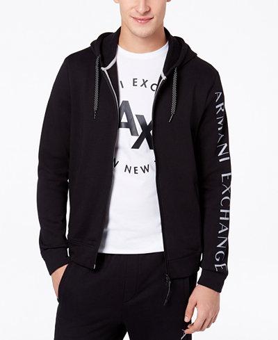 Armani Exchange Men's Logo-Print Full-Zip Hoodie