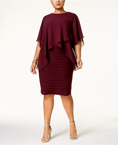 Betsy Adam Plus Size Chiffon Popover Bandage Dress Dresses