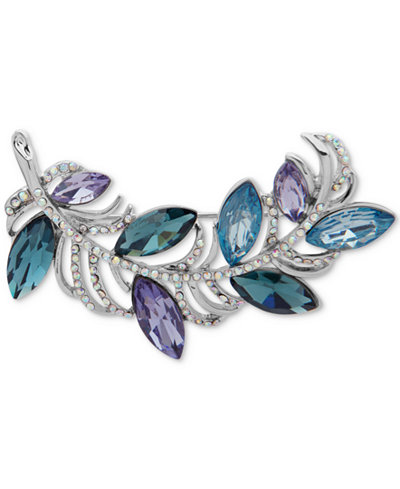 Anne Klein Silver-Tone Pavé & Blue Stone Leafy Branch Pin, Created for Macy's