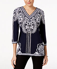 JM Collection Printed Studded Tunic, Created for Macy's