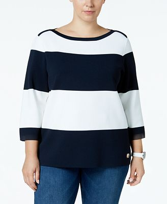 Tommy Hilfiger Plus Size Wide-Stripe Boat-Neck Sweater, Created for Macy's