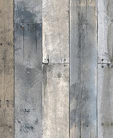 Tempaper Textured Repurposed Wood Self-Adhesive Wallpaper