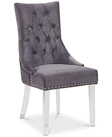 Gobi Modern and Contemporary Tufted Dining Chair in Gray Velvet with Acrylic Legs