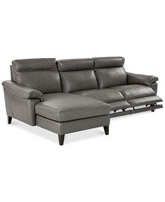 Pirello 3-Pc. Leather Sectional Sofa With Chaise, 2 Power