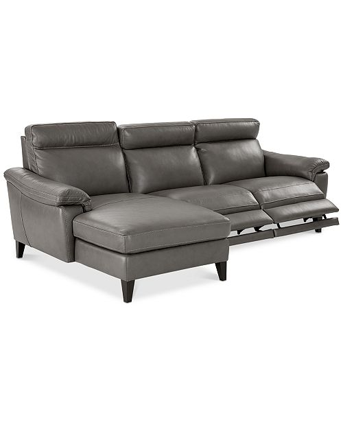 Pirello II 3-Pc. Leather Sectional Sofa With Chaise, 2 Power Recliners with  Power Headrests and USB Port, Created for Macy\'s