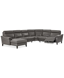 Pirello II 6-Pc. Leather Sectional Sofa With Chaise, 1 Power Recliner with Power Headrest and USB Port, Created for Macy's