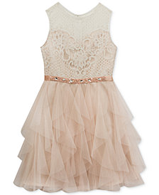 Rare Editions Lace-Bodice Dress, Big Girls Plus