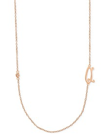 Diamond Accent Initial Pendant in 18k Rose Gold-Plated Sterling Silver