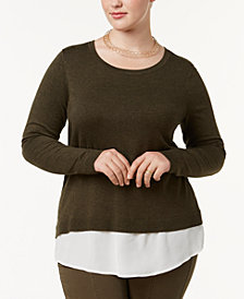 I.N.C. Plus Size Ruched-Back Layered Sweater, Created for Macy's