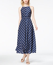 Maison Jules Kimberly Striped Midi Dress, Created for Macy's