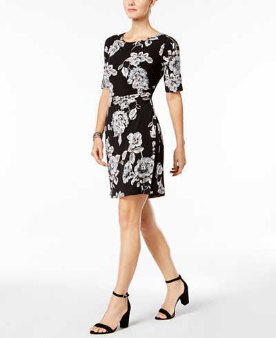 Connected Gathered-Side Sheath Dress