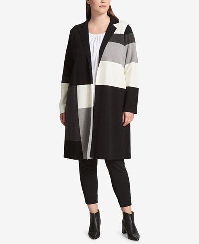 Calvin Klein Plus Size Colorblocked Sweater Topper Jacket