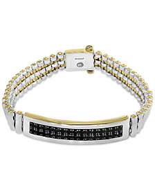 EFFY® Men's Black Sapphire Bracelet (4-1/5 ct. t.w.) in Sterling Silver and 18k Gold-Plate