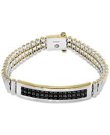 EFFY® Men's Black Sapphire Bracelet (4-1/5 ct. t.w.) in Sterling Silver and 18k Gold-Plate