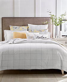 CLOSEOUT! Charter Club Damask Designs Windowpane 3-Pc. Full/Queen Duvet Cover Set, Created for Macy's