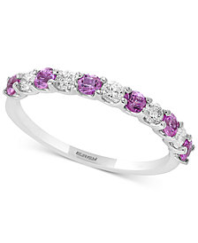 Gemstone Bridal by EFFY® Sapphire (1/2 ct. t.w.) & Diamond (1/4 ct. t.w.) Band in 18k White Gold