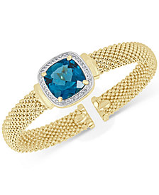 London Blue Topaz (12-1/2 ct. t.w.) & White Topaz (1/3 ct. t.w.) Mesh Bracelet in 14k Gold-Plated Sterling Silver
