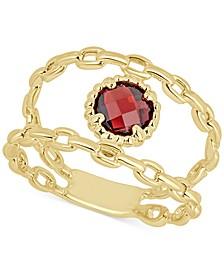 Rhodolite Garnet Double Chain Statement Ring (1-1/10 ct. t.w.) in 14k Gold