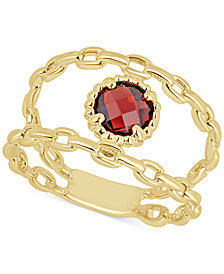 Rhodolite Garnet Double Chain Statement Ring (1-1/10 ct. t.w.) in 14k Gold