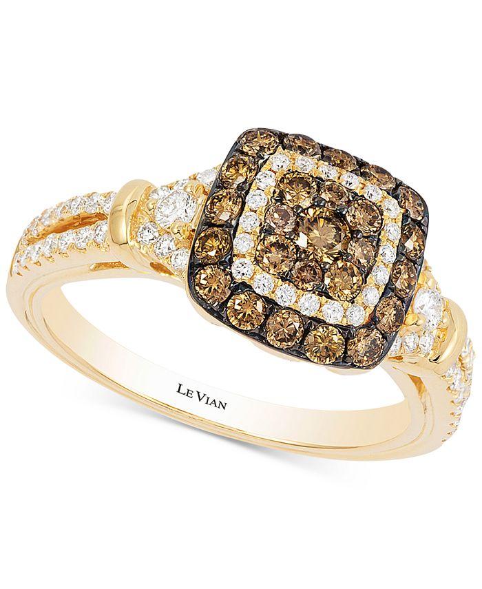 Le Vian - Diamond Square Halo Ring (7/8 ct. t.w.) in 14k Gold
