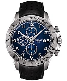 Tissot Men's Swiss Automatic Chronograph T-Sport V8 Black Leather Strap Watch 45mm