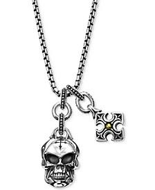 Men's Multi-Charm Pendant Necklace in Sterling Silver & 18k Gold