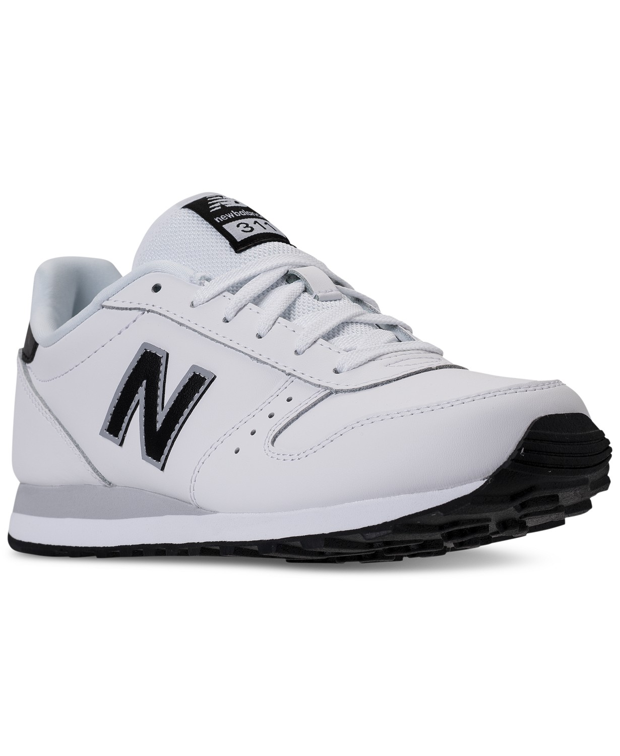 New Balance Men's 311 Leather Casual Sneakers (White/Black)