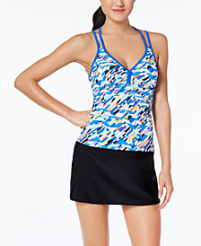 GO by Gossip Crossed Signals Printed Racerback Tankini Top & Swim Skirt