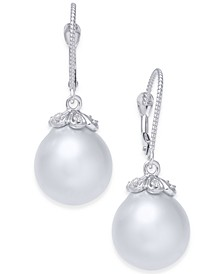 Cultured Baroque White South Sea Pearl (11mm) & Diamond (1/8 ct. t.w.) Drop Earrings in 14k White Gold