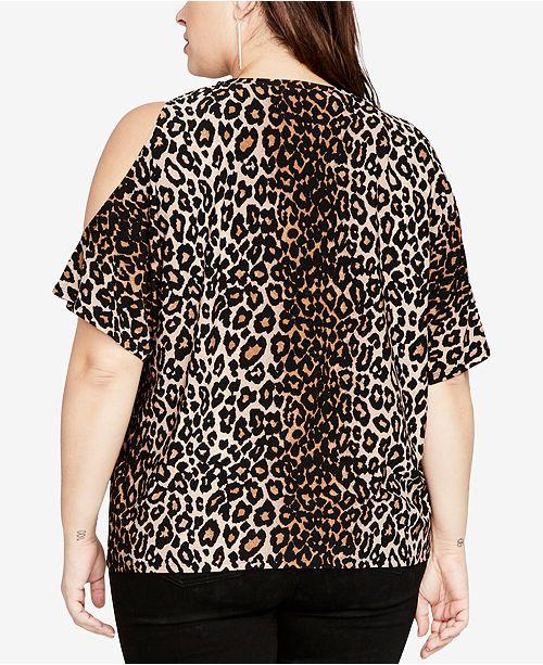 cc90f112dfc2a RACHEL Rachel Roy RACHEL Rachel Roy Trendy Plus Size Cold-Shoulder Leopard-Print  Top ...