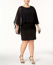 Xscape Plus Size Embellished Cape Dress