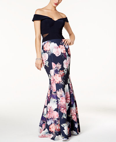Xscape Off-The-Shoulder Mermaid Gown, Regular & Petite Sizes