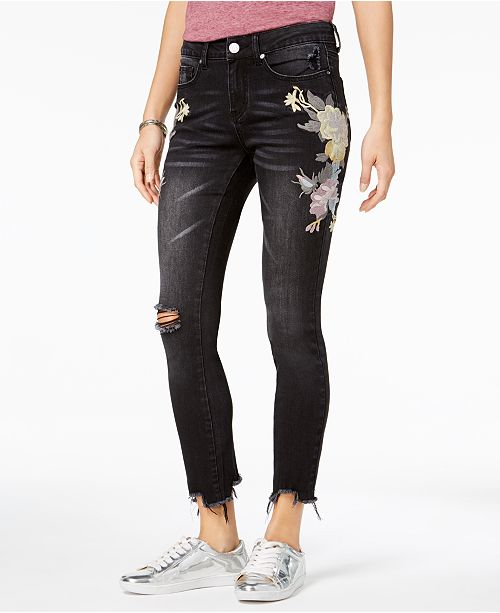 7e5d1dd90614e ... Indigo Rein Juniors  Embroidered Ripped Skinny Ankle Jeans ...