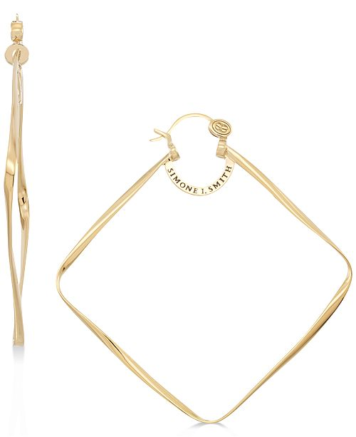 Simone I. Smith Geometric Wire Hoop Earrings in 14k Gold over Sterling Silver