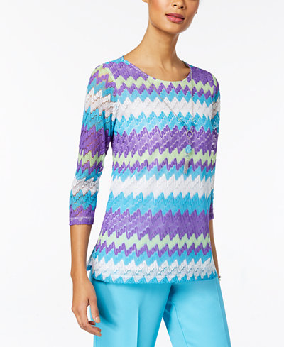 Alfred Dunner All Aflutter Sheer-Sleeve Knit Necklace Top