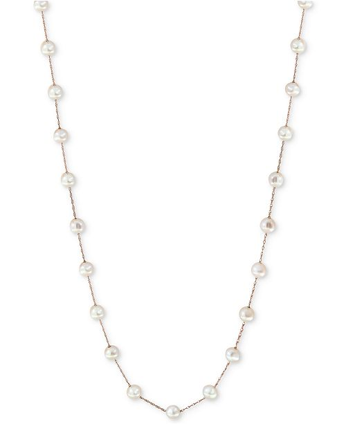 "EFFY Collection EFFY® Cultured Freshwater Pearl (6mm) 36"" Station Long Necklace in 14k Gold"