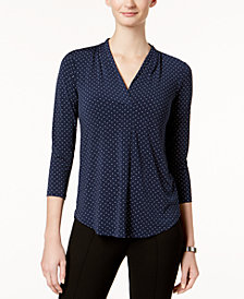 Charter Club Petite Dot-Print V-Neck Top, Created for Macy's