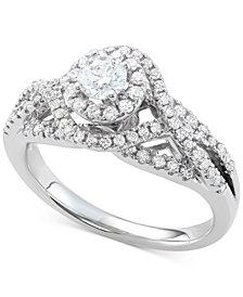 Diamond Halo Interwoven Ring (7/8 ct. t.w.) in 14k White Gold