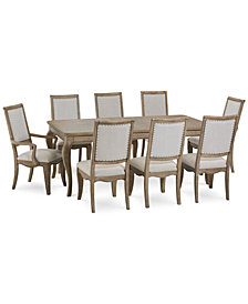 CLOSEOUT! Martha Stewart Bergen Dining Furniture, 9-Pc. Set (Expandable Dining Table, 6 Side Chairs & 2 Arm Chairs), Created for Macy's