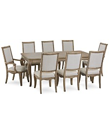Martha Stewart Bergen Dining Furniture, 9-Pc. Set (Expandable Dining Table, 6 Side Chairs & 2 Arm Chairs), Created for Macy's
