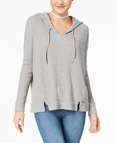 Roxy Juniors' Waffle-Knit Pullover Hoodie