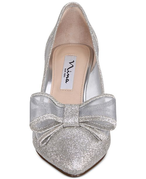 Nina Bianca Mesh Bow Kitten Heel Pumps - Pumps - Shoes - Macy s f8a769a1aa
