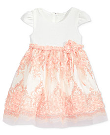 Bonnie Baby Textured Embroidered Bonaz Dress, Baby Girls