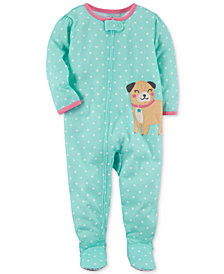 Carter's Dog Dot-Print Footed Cotton Pajamas, Baby Girls