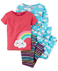 Carter's 4-Pc. Rainbow-Print Cotton Pajama Set, Baby Girls