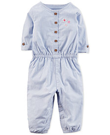 Carter's Embroidered Striped Cotton Jumpsuit, Baby Girls